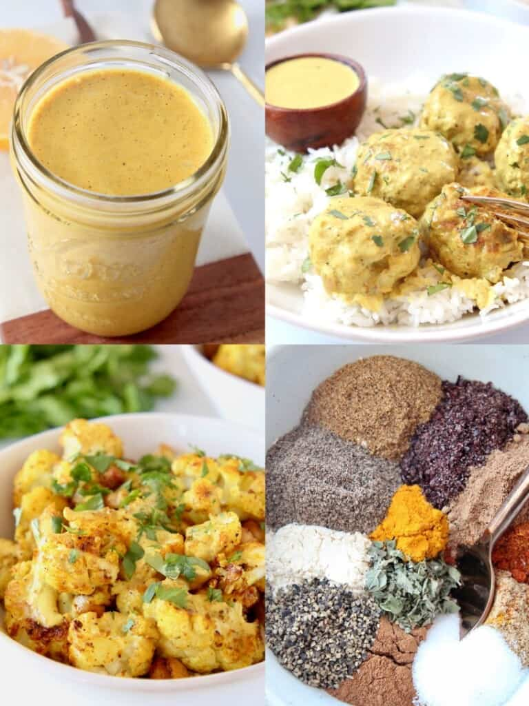 collage of images showing recipes that use turmeric