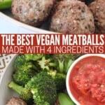 vegan meatballs in bowl with broccoli and marinara sauce