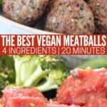 vegan meatballs in bowl covered with marinara sauce