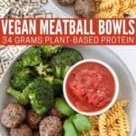 bowl filled with vegan meatballs, chickpea pasta, broccoli and marinara sauce