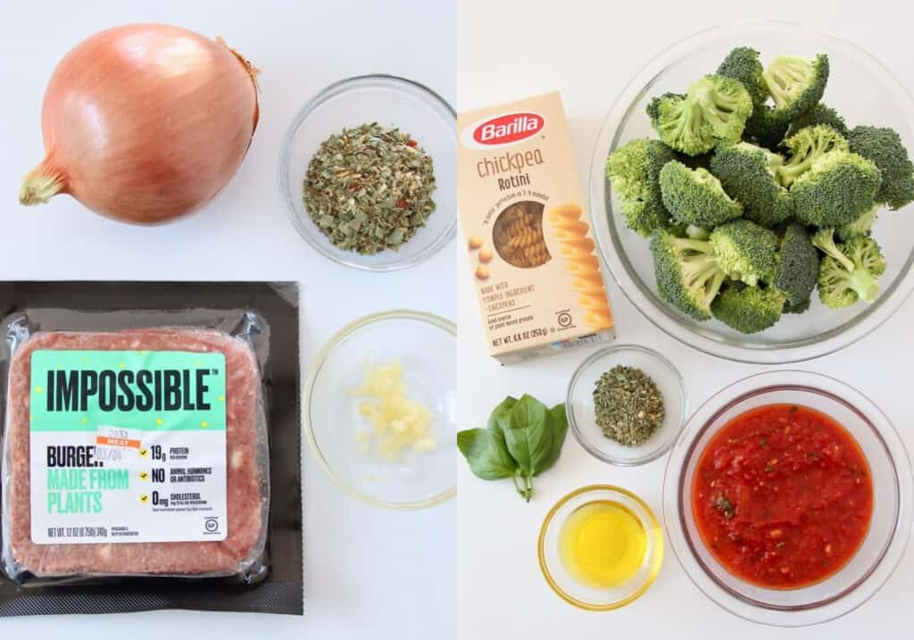 ingredients for italian bowls with vegan meatballs