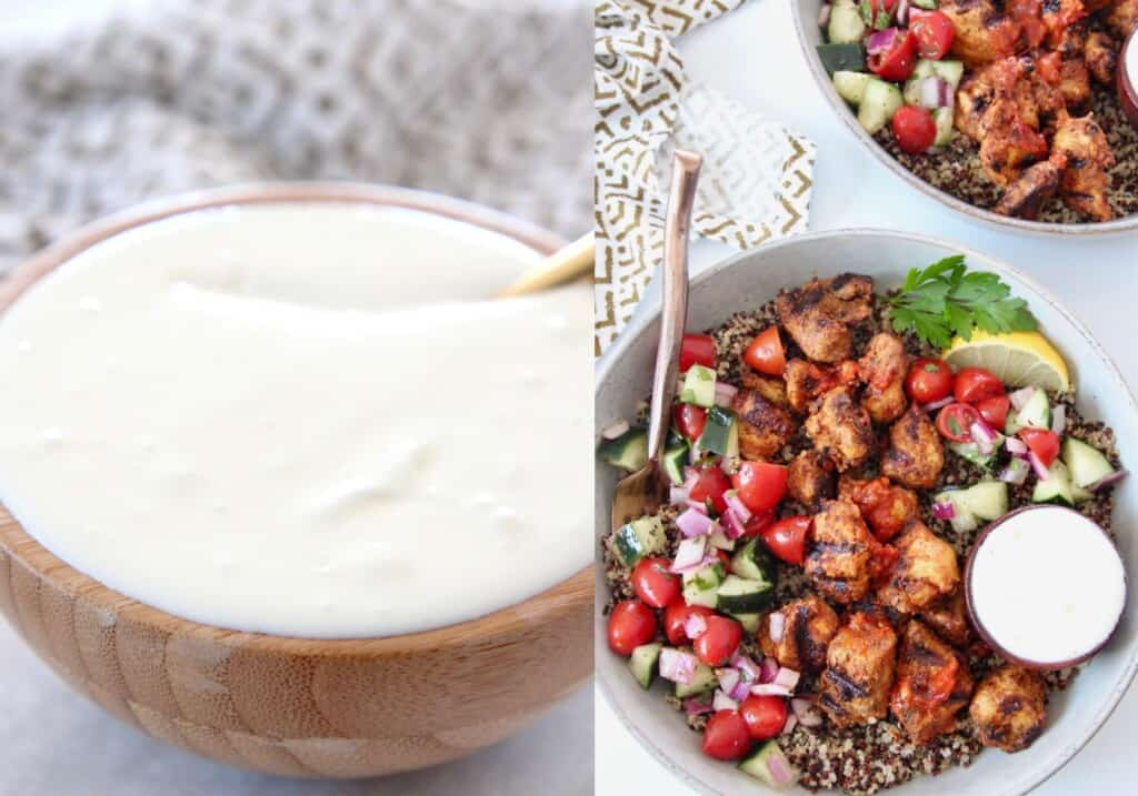 creamy feta dip in bowl and on the side of a chicken harissa bowl