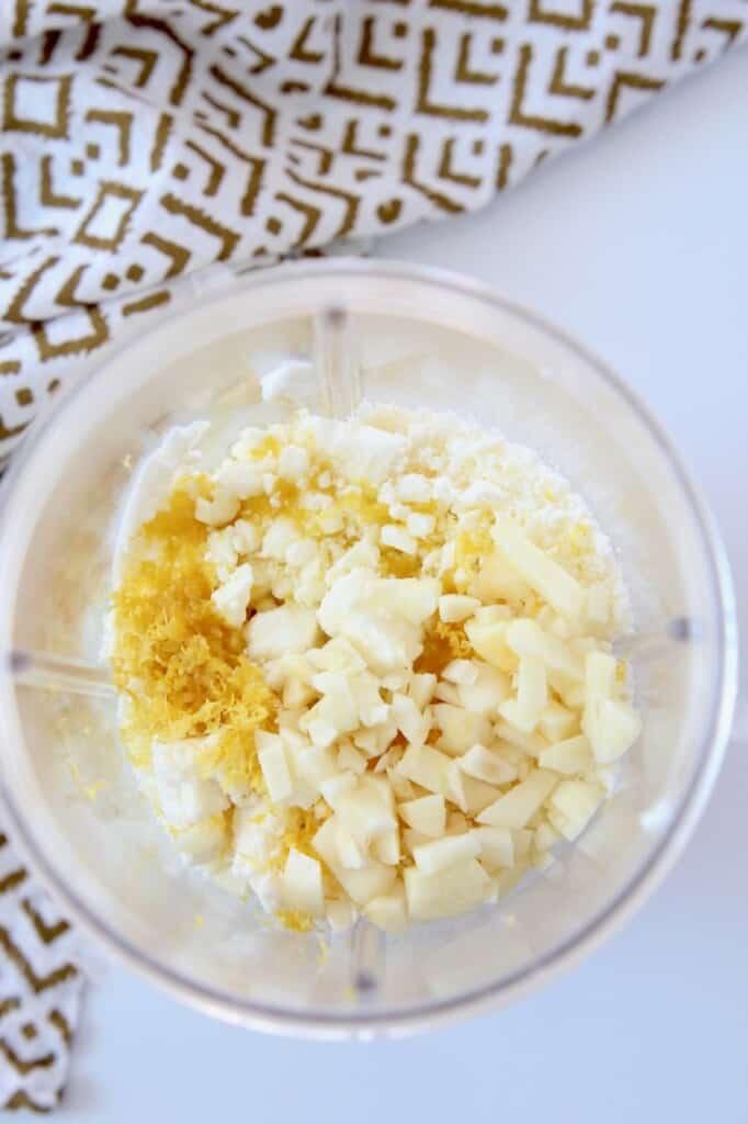 ingredients in blender for whipped feta dip