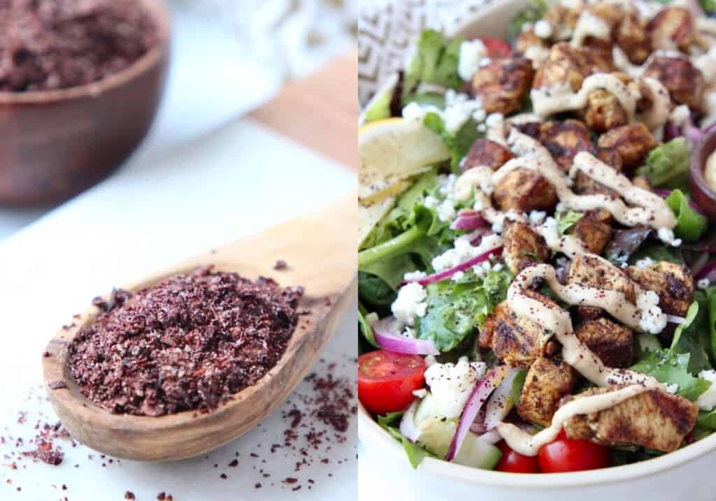 collage of images showing sumac in spoon and on chicken shawarma salad