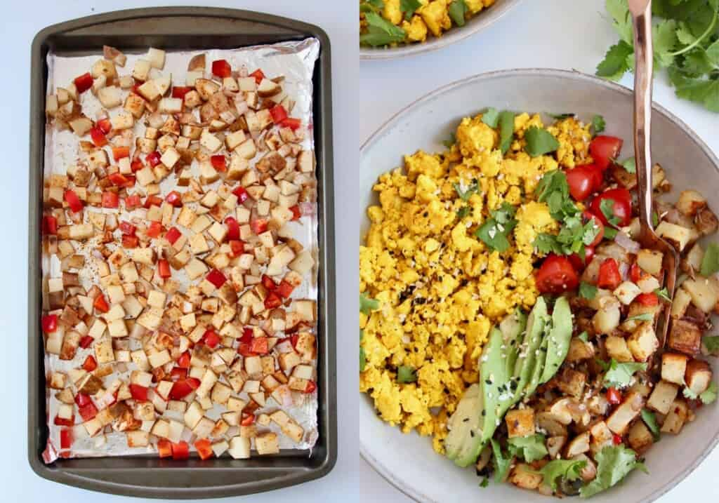 collage of images showing how to make tofu scramble breakfast bowls