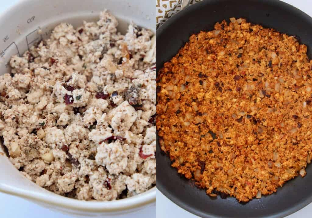 collage of images showing how to make tofu taco crumbles in a large skillet