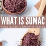 ground sumac in small bowl and wooden spoon