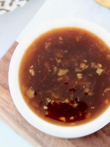 teriyaki sauce in small white bowl