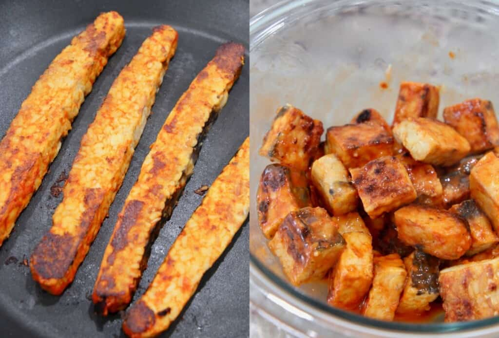 strips of buffalo tempeh in a skillet and cubes of buffalo tempeh in a glass bowl
