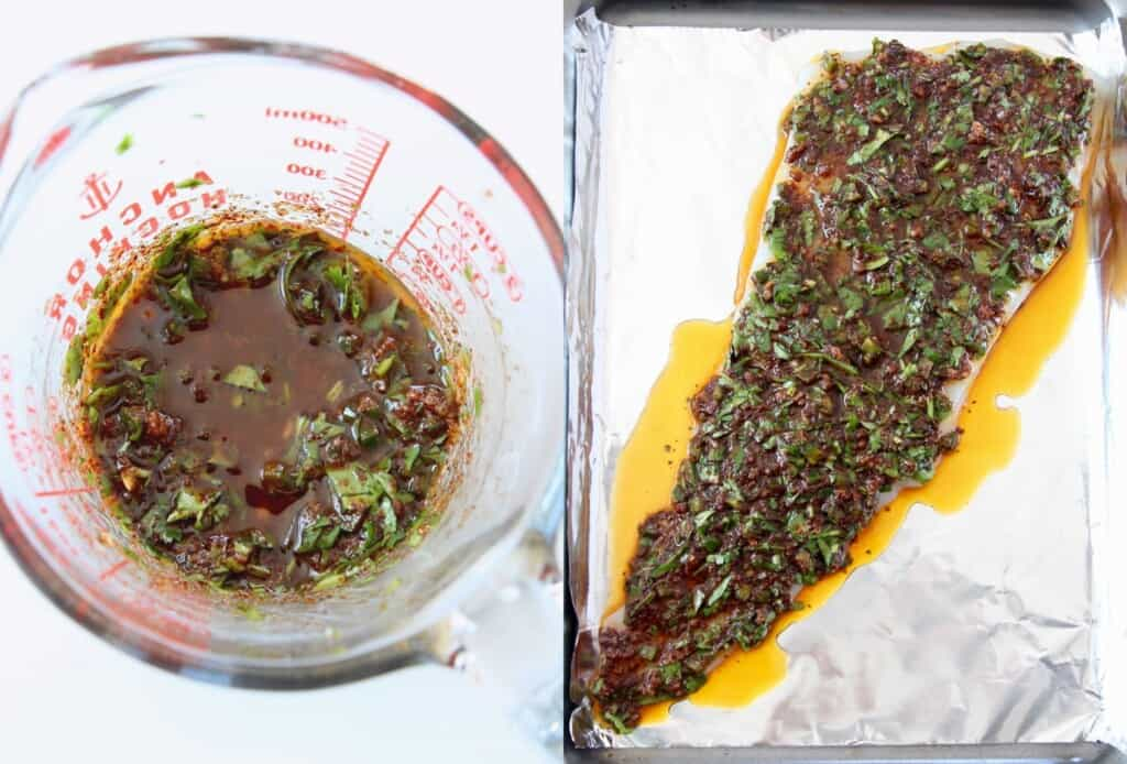 collage of images showing how to make spicy baked cod