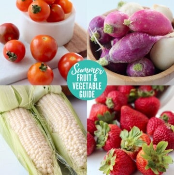 collage of images with summer fruits and vegetables