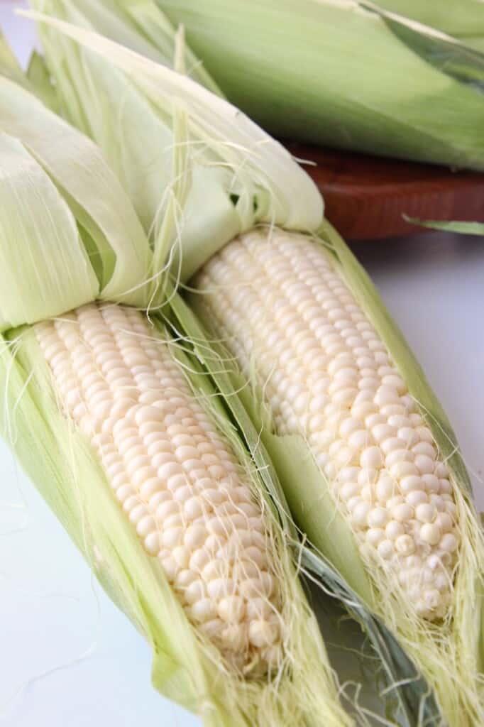 uncooked corn on the cob