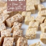 cubed tempeh on white cutting board