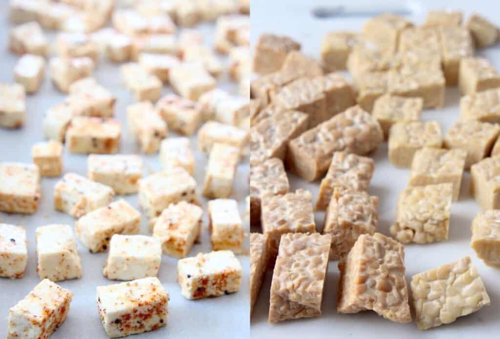 cubes of tofu next to cubes of tempeh