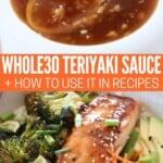 teriyaki sauce in bowl and glazed on salmon