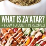 zaatar in a small bowl and roasted vegetables in another bowl