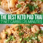 shrimp pad thai in bowl topped with green onions and cilantro