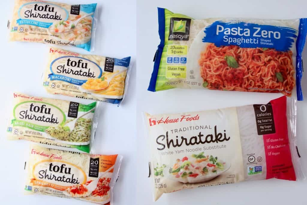 six bags of different types of shirataki noodles