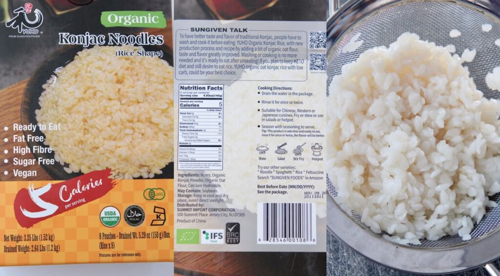 package of konjac rice and the rice drained in a mesh strainer
