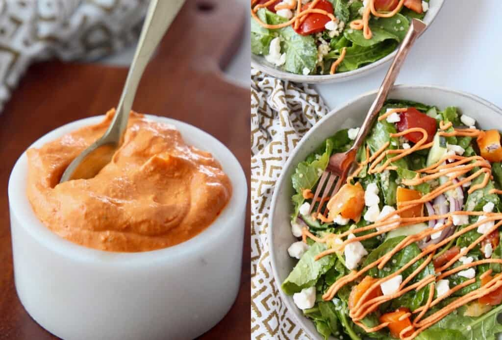 sun dried tomato sauce in bowl and drizzled on salad