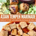 cooked tempeh in bowl with peanut sauce and uncooked tempeh in marinade in glass bowl