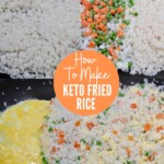 collage of images showing how to make keto fried rice