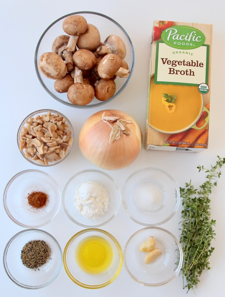 ingredients for vegan cream of mushroom soup