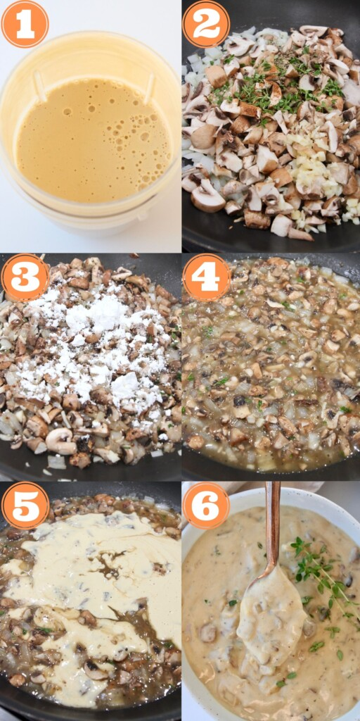 collage of instructional images showing how to make vegan cream of mushroom soup
